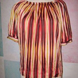 Black Brown Orange Gold White Flowy Blouse XL